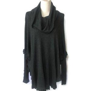 Joseph A 2X Black cowl neck poncho sweater